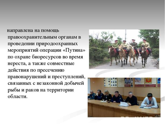 направлена на помощь правоохранительным органам в проведении природоохранных мероприятий операции «Путина» по охране биоресурсов во время нереста, а также совместные действия по пресечению правонарушений и преступлений, связанных с незаконной добыче…