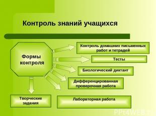 Контроль знаний учащихся Биологический диктант Контроль домашних письменных рабо