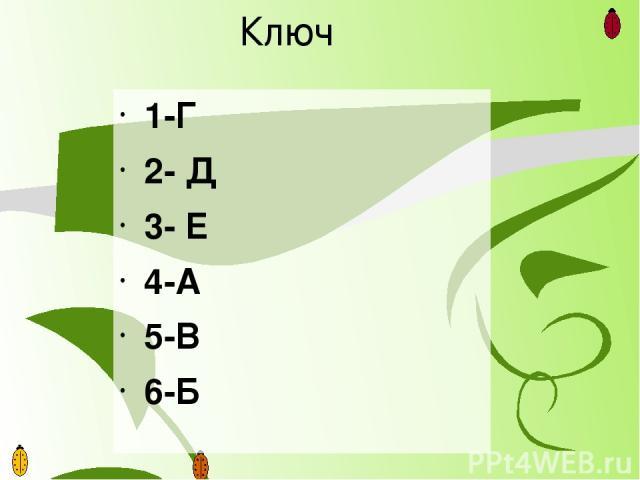 Ключ 1-Г 2- Д 3- Е 4-А 5-В 6-Б