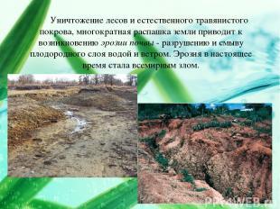 Уничтожение лесов и естественного травянистого покрова, многократная распашка зе