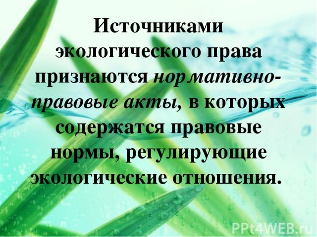 Источниками экологического права признаются нормативно-правовые акты, в которых содержатся правовые нормы, регулирующие экологические отношения.
