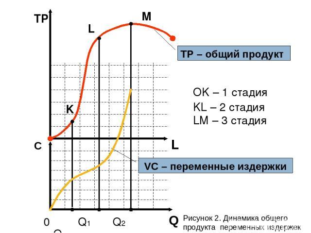 L TР С 0 Q1 Q2 Q3 K L M OK – 1 стадия KL – 2 стадия LM – 3 стадия TP – общий продукт VC – переменные издержки Q Рисунок 2. Динамика общего продукта переменных издержек