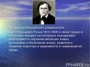 Профессор Московского университета Карл Францевич Рулье(1814-1858) в своих труда