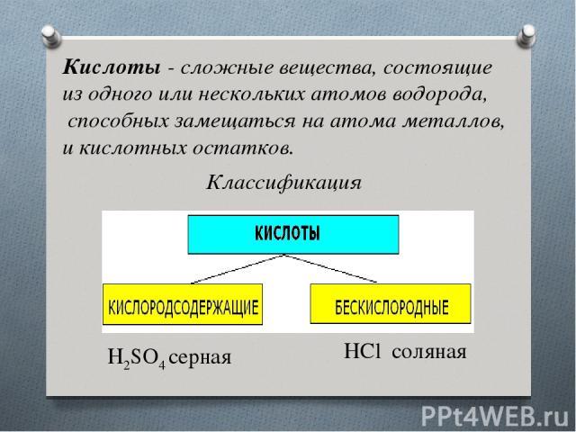 Кислоты- сложные вещества, состоящие из одного или нескольких атомов водорода, способных замещаться на атома металлов, и кислотных остатков. Классификация H2SO4серная HClсоляная