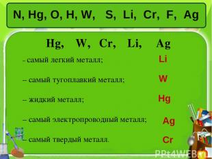 N, Hg, O, H, W, S, Li, Сr, F, Ag Hg, W, Сr, Li, Ag – самый легкий металл; – самы