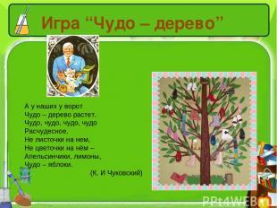 "Игра ""Чудо – дерево"" А у наших у ворот Чудо – дерево растет. Чудо, чудо, чудо, ч"