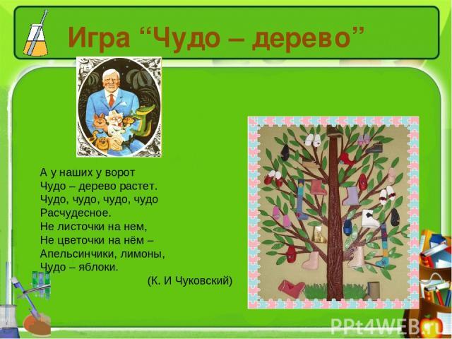 """Игра """"Чудо – дерево"""" А у наших у ворот Чудо – дерево растет. Чудо, чудо, чудо, чудо Расчудесное. Не листочки на нем, Не цветочки на нём – Апельсинчики, лимоны, Чудо – яблоки. (К. И Чуковский)"""
