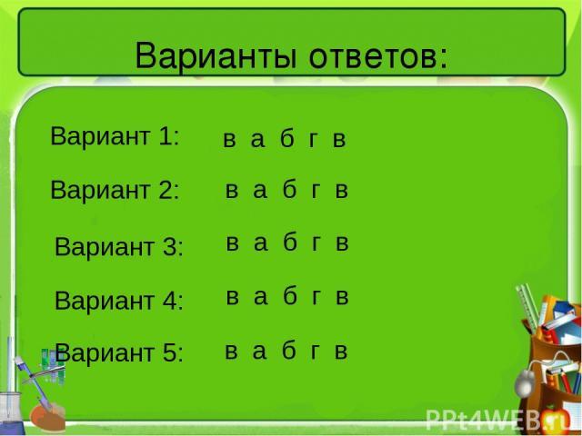 Варианты ответов: Вариант 1: Вариант 3: Вариант 2: Вариант 4: Вариант 5: в а б г в в а б г в в а б г в в а б г в в а б г в