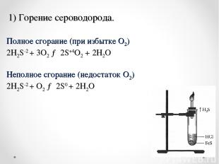 1) Горение сероводорода. Полное сгорание (при избытке O2) 2H2S-2+ 3O2→ 2S+4O2