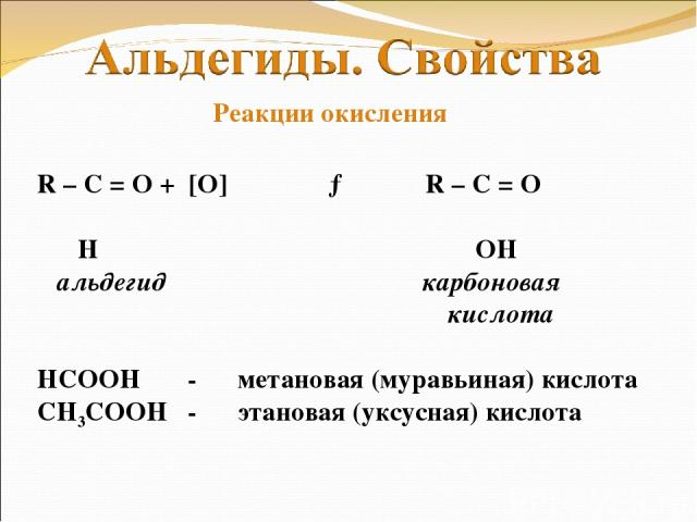 R – C = O + [O] → R – C = O Ι Ι H OH альдегид карбоновая кислота НСООН - метановая (муравьиная) кислота СН3СООН - этановая (уксусная) кислота Реакции окисления