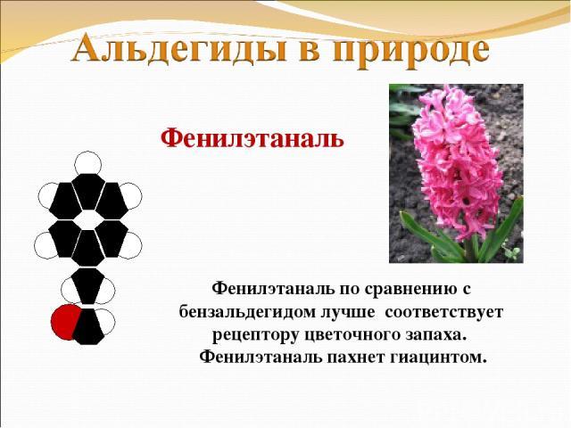 Фенилэтаналь Фенилэтаналь по сравнению с бензальдегидом лучше соответствует рецептору цветочного запаха. Фенилэтаналь пахнет гиацинтом.
