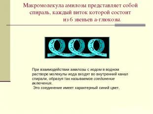 Макромолекула амилозы представляет собой спираль, каждый виток которой состоит и