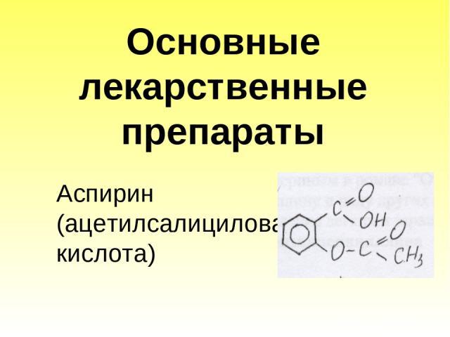 Основные лекарственные препараты Аспирин (ацетилсалициловая кислота)