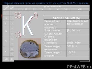 Периодическая система химических элементов Д.И.Менделеева Группы элементов I III