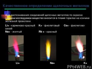 Качественное определение щелочных металлов Li+ Na+ K+ Для распознавания соединен