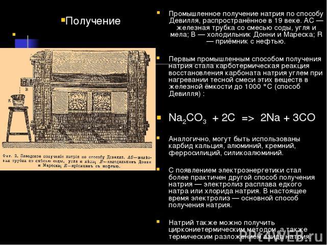 Промышленное получение натрия по способу Девилля, распространённое в 19 веке. AC — железная трубка со смесью соды, угля и мела; B — холодильник Донни и Мареска; R — приёмник с нефтью. Первым промышленным способом получения натрия стала карботермичес…
