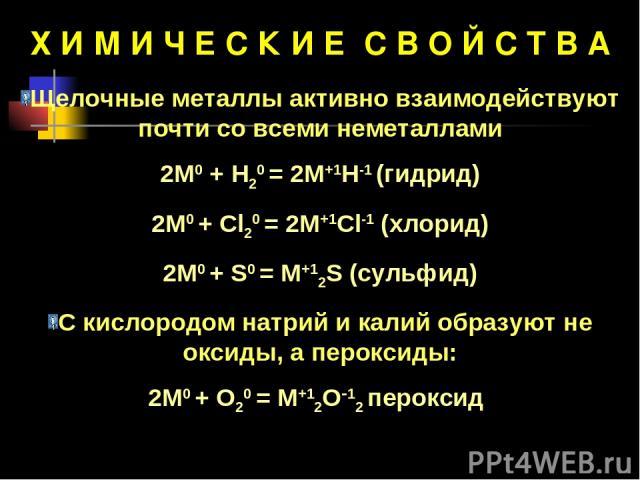Х И М И Ч Е С К И Е С В О Й С Т В А Щелочные металлы активно взаимодействуют почти со всеми неметаллами 2М0 + Н20 = 2М+1Н-1 (гидрид) 2М0 + Cl20 = 2M+1Cl-1 (хлорид) 2М0 + S0 = M+12S (сульфид) С кислородом натрий и калий образуют не оксиды, а пероксид…