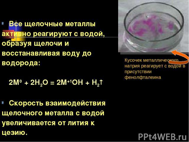 Все щелочные металлы активно реагируют с водой, образуя щелочи и восстанавливая воду до водорода: 2М0 + 2Н2О = 2М+1ОН + Н2 Скорость взаимодействия щелочного металла с водой увеличивается от лития к цезию. Кусочек металлического натрия реагирует с во…
