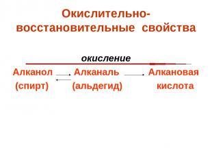 Окислительно-восстановительные свойства окисление Алканол Алканаль Алкановая (сп
