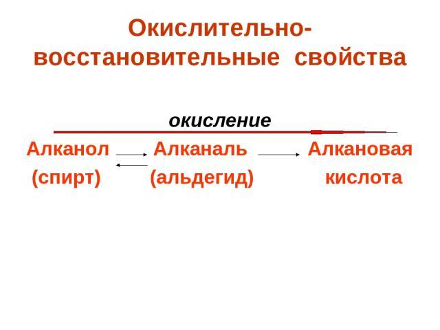 Окислительно-восстановительные свойства окисление Алканол Алканаль Алкановая (спирт) (альдегид) кислота