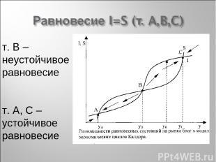 т. В – неустойчивое равновесие т. А, С – устойчивое равновесие
