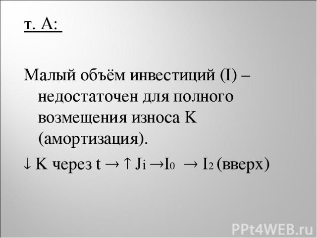 т. A: Малый объём инвестиций (I) – недостаточен для полного возмещения износа K (амортизация). K через t Ji I0 I2 (вверх)