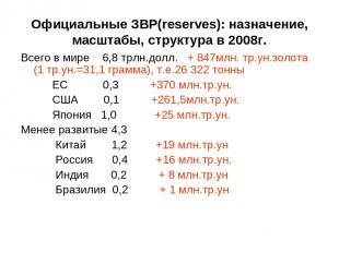 Официальные ЗВР(reserves): назначение, масштабы, структура в 2008г. Всего в мире