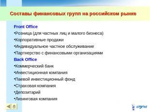 Составы финансовых групп на российском рынке Front Office Розница (для частных л