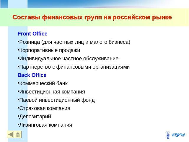 Составы финансовых групп на российском рынке Front Office Розница (для частных лиц и малого бизнеса) Корпоративные продажи Индивидуальное частное обслуживание Партнерство с финансовыми организациями Back Office Коммерческий банк Инвестиционная компа…