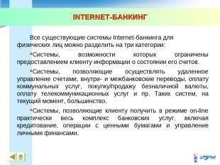INTERNET-БАНКИНГ * * Все существующие системы Internet-банкинга для физических л