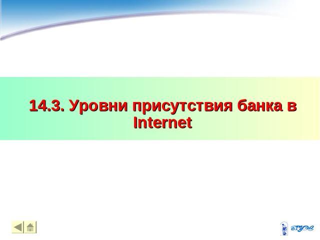 14.3. Уровни присутствия банка в Internet * *