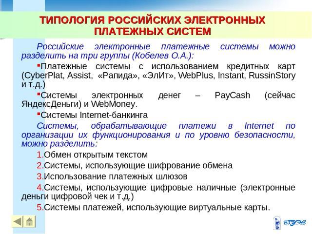 ТИПОЛОГИЯ РОССИЙСКИХ ЭЛЕКТРОННЫХ ПЛАТЕЖНЫХ СИСТЕМ * Российские электронные платежные системы можно разделить на три группы (Кобелев О.А.): Платежные системы с использованием кредитных карт (CyberPlat, Assist, «Рапида», «ЭлИт», WebPlus, Instant, Russ…