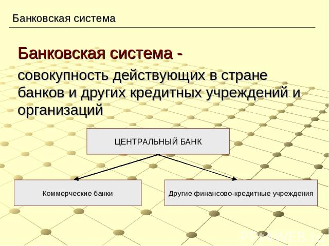 Банковская система Банковская система - совокупность действующих в стране банков и других кредитных учреждений и организаций ЦЕНТРАЛЬНЫЙ БАНК Коммерческие банки Другие финансово-кредитные учреждения