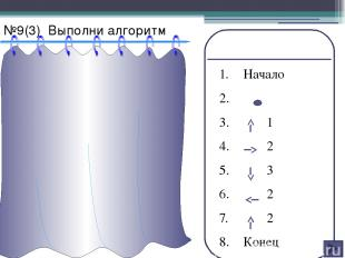 №10(2) Напиши алгоритм для рисунка ` 1. Начало 2. 3. 2 4. 2 5. 2 6. 2 7. 2 8. 2