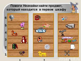 1 2 3 1 2 3 4 5 6 Помоги Незнайке найти предмет, который находится в первом шкаф