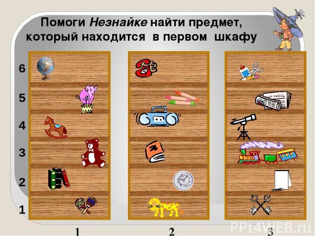 1 2 3 1 2 3 4 5 6 Помоги Незнайке найти предмет, который находится в первом шкафу Наталья: Наталья: Щелчок по предмету. Загаданный предмет увеличивается в размере, не загаданный - крутится