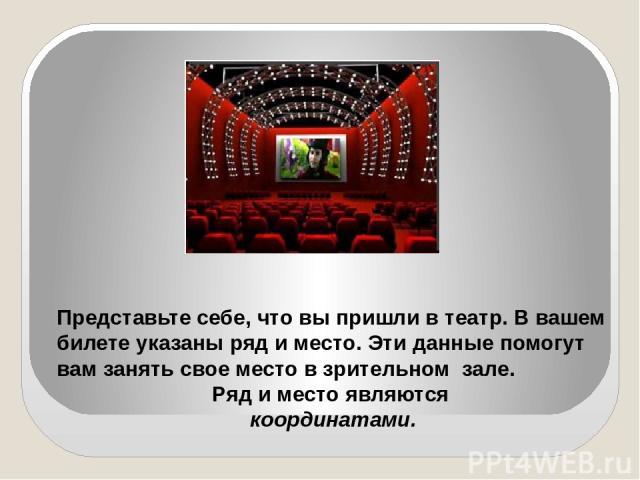 Представьте себе, что вы пришли в театр. В вашем билете указаны ряд и место. Эти данные помогут вам занять свое место в зрительном зале. Ряд и место являются координатами.