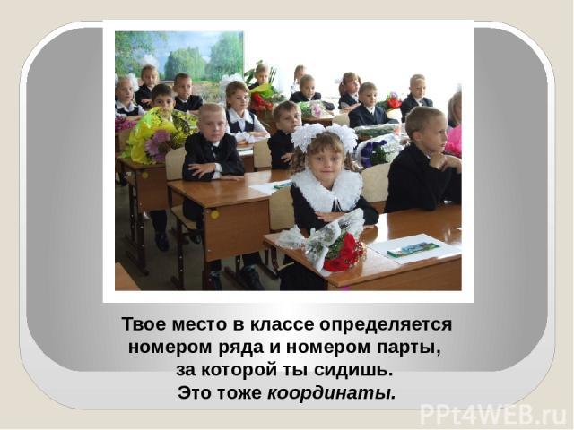 Твое место в классе определяется номером ряда и номером парты, за которой ты сидишь. Это тоже координаты.