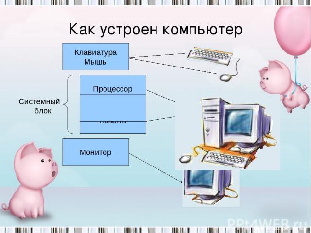 Как компьютер работает с информацией? Клавиатура Мышь Монитор Память Процессор Системный блок Как устроен компьютер