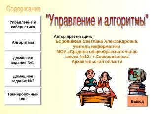 Автор презентации: Боровикова Светлана Александровна, учитель информатики МОУ «С