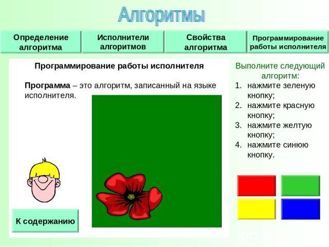 Программирование работы исполнителя Программа – это алгоритм, записанный на языке исполнителя. К содержанию