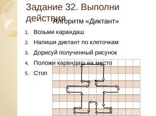 Задание 32. Выполни действия Алгоритм «Диктант» Возьми карандаш Напиши диктант п
