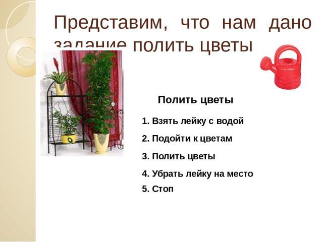 Представим, что нам дано задание полить цветы Полить цветы 1. Взять лейку с водой 2. Подойти к цветам 3. Полить цветы 4. Убрать лейку на место 5. Стоп