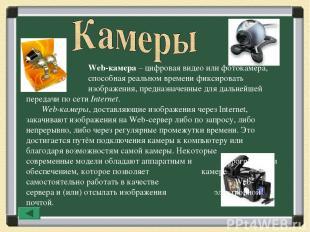 Web-камера – цифровая видео или фотокамера, способная реальном времени фиксирова