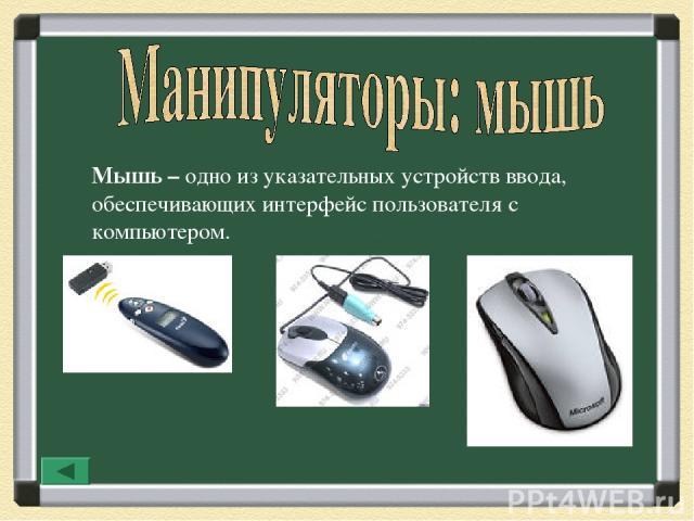 Мышь – одно из указательных устройств ввода, обеспечивающих интерфейс пользователя с компьютером.