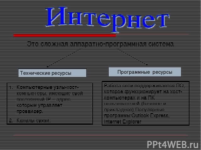 Это сложная аппаратно-программная система Программные ресурсы Технические ресурсы Компьютерные узлы-хост-компьютеры, имеющие свой постоянный IP – адрес, которым управляет провайдер. Каналы связи; Работа сети поддерживается ПО, которое функционирует …