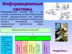 Информационные системы Информационная система (ИС) — это система, построенная на