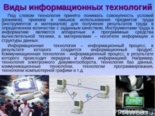 Виды информационных технологий Под словом технология принято понимать совокупнос
