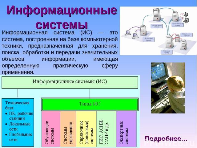 Информационные системы Информационная система (ИС) — это система, построенная на базе компьютерной техники, предназначенная для хранения, поиска, обработки и передачи значительных объемов информации, имеющая определенную практическую сферу применени…