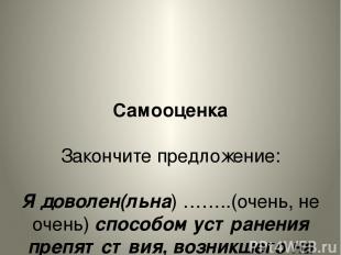Самооценка Закончите предложение: Я доволен(льна) ……..(очень, не очень) способом